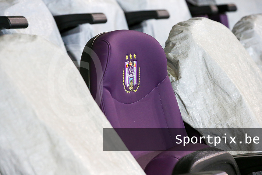 Seats at Lotto Stadium pictured before  a female soccer game between RSC Anderlecht Dames and Northern Irish Linfield Ladies  in the first qualifying round for the Uefa Womens Champions League of the 2020 - 2021 season , Wednesday 4 th of November 2020  in ANDERLECHT , Belgium . PHOTO SPORTPIX.BE | SPP | SEVIL OKTEM