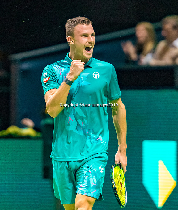 Rotterdam, The Netherlands, 14 Februari 2019, ABNAMRO World Tennis Tournament, Ahoy, Marton Fucsovics (HUN) celebrates matchpoint<br /> Photo: www.tennisimages.com/Henk Koster