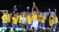 Lucio of Brazil lifts the Confederations Cup. Brazil defeated USA 3-2 in the FIFA Confederations Cup Final at Ellis Park Stadium in Johannesburg, South Africa on June 28, 2009.