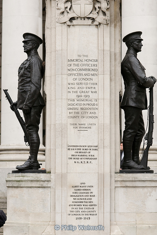 War Memorial outside the Royal Exchange and the Bank of England in the City of London
