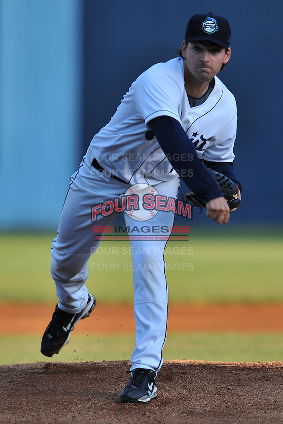 Asheville Tourists starting pitcher Alex Gillingham #10 delivers a pitch during a game between the West Virginia Power and the Asheville Tourists at McCormick Field, Asheville, North Carolina April 10, 2012. The Tourists won 6-5  (Tony Farlow/Four Seam Images)..