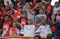 BOGOTÁ - COLOMBIA, 06-03-2018:Hinchas Independiente Santa Fe. Acción de juego entre la Equidad y Boyacá Chicó durante partido por la fecha 7 de la Liga Águila I 2018 jugado en el estadio Metropolitano de Techo de la ciudad de Bogotá. / Fans of Independiente Santa Fe.Action game between Equidad vs Boyaca Chico during the match for the date 7 of the Liga Aguila I 2018 played at the Metropolitano de Techo  Stadium in Bogota city. Photo: VizzorImage / Felipe Caicedo / Staff.