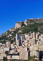 Dense cluster of city buildings, Fontvieille, Monaco