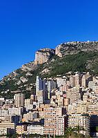 Dense cluster of city buildings, Fontvieille, Monaco