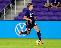 ORLANDO, FL - FEBRUARY 24: Carli Lloyd #10 of the USWNT dribbles during a game between Argentina and USWNT at Exploria Stadium on February 24, 2021 in Orlando, Florida.