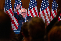 """Democratic presidential candidate and Vermont senator Bernie Sanders waves to the crowd after delivering his response to President Donald Trump's State of the Union address earlier that night at The Currier Museum of Art in Manchester, New Hampshire, on Tue., Feb. 4, 2020. Sanders' speech began, """"Tonight, we just listened to Donald Trump's third, and what I believe will be his very last, State of the Union Address."""""""