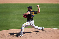Pittsburgh Pirates pitcher Wil Crowe (29) during a Major League Spring Training game against the Baltimore Orioles on February 28, 2021 at Ed Smith Stadium in Sarasota, Florida.  (Mike Janes/Four Seam Images)