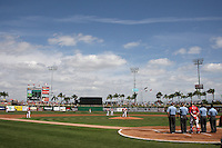 Philadelphia Phillies spring training home Bright House Field during the national anthem before a spring training game against the Houston Astros at Bright House Field on March 7, 2012 in Clearwater, Florida.  (Mike Janes/Four Seam Images)