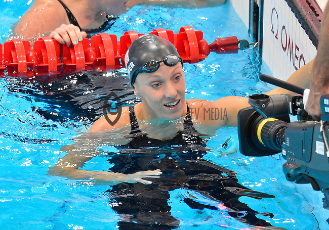 July 28, 2012: DANA VOLLMER of USA looks at the camera after competing in women's 100 meter semifinal at the Aquatics Center on day one of 2012 Olympic Games in London, United Kingdom.