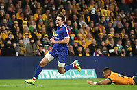 17th July 2021; Brisbane, Australia;  France's Pierre-Louis Barassi breaks through tackles to score a try during the Australia versus France, 3rd Rugby Test at Suncorp Stadium, Brisbane, Australia on Saturday 17th July 2021.
