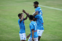 Victor Osimhen of SSC Napoli celebrates with Lorenzo Insidgne, Dries Mertens and other team mates after scoring a goal during the friendly football match between SSC Napoli and L Aquila 1927 at stadio Patini in Castel di Sangro, Italy, August 28, 2020. <br /> Photo Cesare Purini / Insidefoto