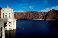 View of the Nevada  Lake Mead reservoir side of the Hoover Dam (aka Boulder Dam). Nevada.