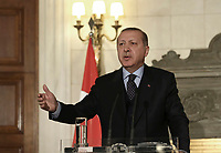 Pictured: Turkey president Recep Tayyip Erdogan during a press conference he held with Prime Minister Alexis Tsipras hold <br /> Re: Turkey's president Recep Tayyip Erdogan has begun a landmark visit to Greece. Thursday 07 December 2017