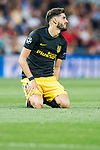 Yannick Ferreira Carrasco of Atletico de Madrid sits on the pitch during their 2016-17 UEFA Champions League Semifinals 1st leg match between Real Madrid and Atletico de Madrid at the Estadio Santiago Bernabeu on 02 May 2017 in Madrid, Spain. Photo by Diego Gonzalez Souto / Power Sport Images