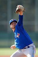Toronto Blue Jays pitcher Ty Tice (48) delivers a pitch during an Instructional League game against the Pittsburgh Pirates on October 13, 2017 at Pirate City in Bradenton, Florida.  (Mike Janes/Four Seam Images)