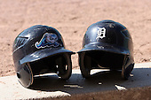 June 14th 2008:  Helmets from the West Michigan Whitecaps and Detroit Tigers at Fifth Third Ballpark in Comstock Park, MI.  Photo by:  Mike Janes/Four Seam Images