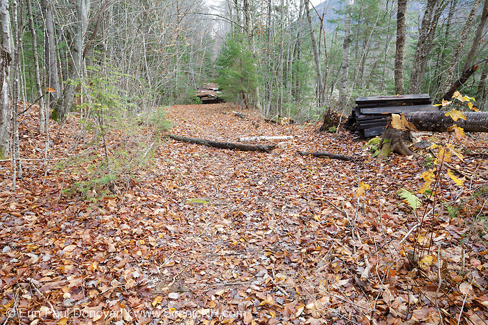October 2013 - Site of steel footbridge which crossed Black Brook along the Wilderness Trail (Trestle 16 location of the EB&L RR) in the Pemigewasset Wilderness of New Hampshire. This bridge was part of the 180 foot suspension bridge removal 1/2 -/+ mile east of this location along the Wilderness Trail. Per the Wilderness Act, only non-motorized equipment can be used to remove this material.