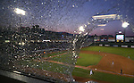 A foul ball shattered a couple windows in the press box during a game at Greater Nevada Field, in Reno, Nev., on Wednesday, Aug. 10, 2016.  <br />Photo by Cathleen Allison