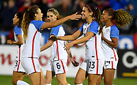 Commerce City, CO - Friday September 15, 2017: Alex Morgan celebrates her goal during an International friendly match between the women's National teams of the United States (USA) and New Zealand (NZL) at Dick's Sporting Goods Park.