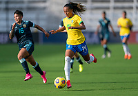 ORLANDO, FL - FEBRUARY 18: Adriana #14 of Brazil dribbles during a game between Argentina and Brazil at Exploria Stadium on February 18, 2021 in Orlando, Florida.