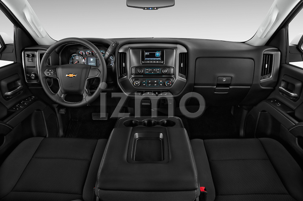 Stock photo of straight dashboard view of2015 Chevrolet Silverado 2500 HD Work Truck Double Cab LWB 4 Door  Dashboard
