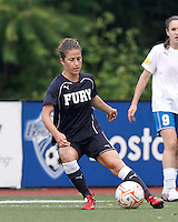 New York Fury defender Kim Yokers (6) clears the ball. In a Women's Premier Soccer League Elite (WPSL) match, the Boston Breakers defeated New York Fury, 2-0, at Dilboy Stadium on June 23, 2012.