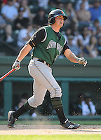 First baseman Ryan Scoma (29) of the Augusta GreenJackets, Class A affiliate of the San Francisco Giants, in a game against the Greenville Drive on April 10, 2011, at Fluor Field at the West End in Greenville, S.C. Photo by Tom Priddy / Four Seam Images
