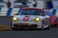 Rolex 24 at Daytona, Daytona International Speedway 5/6 Feb, 2005.The #37 Denon Porsche races to 2nd in GT..Copyright©F.Peirce Williams 2005