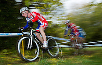 03 NOV 2012 - IPSWICH, GBR - Ben Sumner (GBR) (left) of Great Britain leads team mate Hugo Robinson (GBR) (centre) and Bryan Falaschi (ITA) (right) of Italy during the Under 23 Men's European Cyclo-Cross Championships in Chantry Park, Ipswich, Suffolk, Great Britain (PHOTO (C) 2012 NIGEL FARROW)