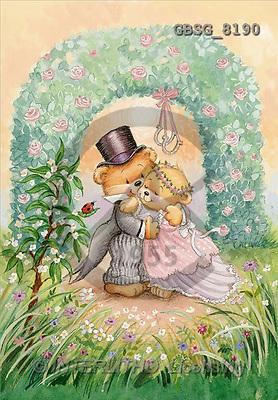 Ron, WEDDING, paintings, bear couple, portal(GBSG8190,#W#) Hochzeit, boda, illustrations, pinturas ,everyday