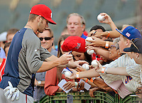 24 July 2012: Washington Nationals rookie outfielder Bryce Harper signs autographs prior to a game against the New York Mets at Citi Field in Flushing, NY. The Nationals defeated the Mets 5-2 to take the second game of their 3-game series. Mandatory Credit: Ed Wolfstein Photo