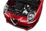 Car Stock 2016 Alfaromeo Mito Super 3 Door hatchback Engine  high angle detail view