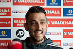 Neil Taylor speaking at the Football Association of Wales press conference at the St Davids Hotel in Cardiff Bay ahead of this weekend's game against Israel.