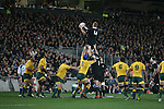 Luke Romano takes the ball. All Blacks beat Australia 22-0. Eden Park, Auckland. 25 August 2012. Photo: Marc Weakley