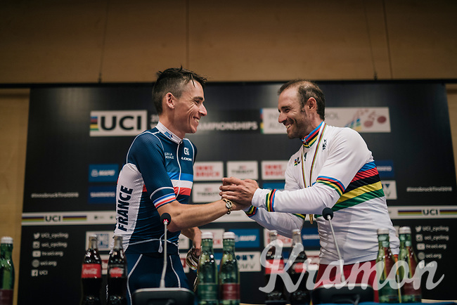 Romain Bardet (FRA/AG2R-La Mondiale) congratulating Alejandro Valverde (ESP/Movistar team) in his fresh rainbow jersey giving his first press conference as the new World Champion<br /> <br /> MEN ELITE ROAD RACE<br /> Kufstein to Innsbruck: 258.5 km<br /> <br /> UCI 2018 Road World Championships<br /> Innsbruck - Tirol / Austria