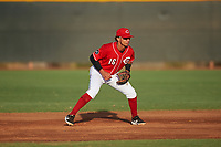 AZL Reds second baseman Sebastian Almonte (16) during an Arizona League game against the AZL Athletics Green on July 21, 2019 at the Cincinnati Reds Spring Training Complex in Goodyear, Arizona. The AZL Reds defeated the AZL Athletics Green 8-6. (Zachary Lucy/Four Seam Images)
