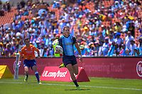 Argentina's Franco Sabato runs for the tryline during the men's pool match against Fiji. Day two of the 2020 HSBC World Sevens Series Hamilton at FMG Stadium in Hamilton, New Zealand on Sunday, 26 January 2020. Photo: Dave Lintott / lintottphoto.co.nz