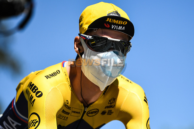 Primoz Roglic (SLO) Team Jumbo-Visma at sign on before the start of Stage 5 of Tour de France 2020, running 183km from Gap to Privas, France. 2nd September 2020.<br /> Picture: ASO/Alex Broadway | Cyclefile<br /> All photos usage must carry mandatory copyright credit (© Cyclefile | ASO/Alex Broadway)