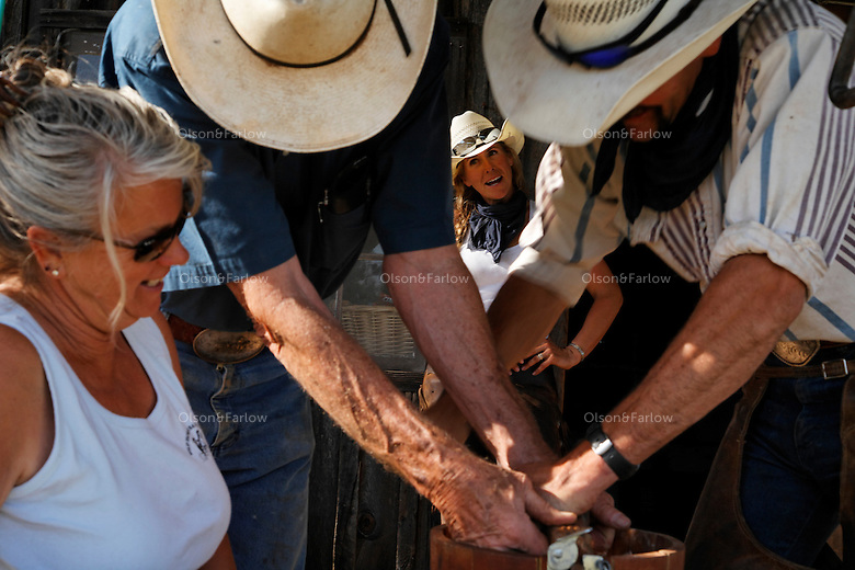 """Dianne Nelson at the Wild Horse Sanctuary watches friends make ice cream for guests. <br /> Dianne Nelson has saved mustangs on a ranch in northern California.  """"It was in 1978 that the Wild Horse Sanctuary founders rounded up almost 300 wild horses for the Forest Service in Modoc County, California. Of those 300, 80 were found to be un-adoptable and were scheduled to be destroyed at a government holding facility near Tule Lake, California. The Sanctuary is located near Shingletown, California on 5,000 acres of lush lava rock-strewn mountain meadow and forest land. Black Butte is to the west and towering Mt. Lassen is to the east. ..Their goals:.Increase public awareness of the genetic, biological, and social value of America's wild horses through pack trips on the sanctuary, publications, mass media, and public outreach programs..Continue to develop a working, replicable model for the proper and responsible management of wild horses in their natural habitat..Demonstrate that wild horses can co-exist on the open range in ecological balance with many diverse species of wildlife, including black bear, bobcat, mountain lion, wild turkeys, badger, and gray fox..Collaborate with research projects in order to document the intricate and unique social structure, biology, reversible fertility control, and native intelligence of the wild horse."""