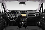 Stock photo of straight dashboard view of a 2018 Jeep Renegade Limited 5 Door SUV