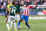 Fausto Tienza Nunez of Osasuna (L) and Thomas Teye Partey of Atletico de Madrid (R) in action during the La Liga match between Atletico de Madrid vs Osasuna at Estadio Vicente Calderon on 15 April 2017 in Madrid, Spain. Photo by Diego Gonzalez Souto / Power Sport Images