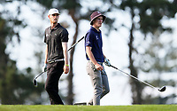 Samuel Jones (L) and Kerry Mountcastle during the New Zealand Amateur Golf Championship, Poverty Bay Golf Course, Awapuni Links, Gisborne, Friday 23 October 2020. Photo: Simon Watts/www.bwmedia.co.nz