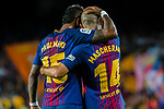 Jose Paulo Bezerra Maciel Junior, Paulinho, of FC Barcelona (L) celebrates after scoring his goal with Javier Alejandro Mascherano of FC Barcelona (R) during the La Liga 2017-18 match between FC Barcelona and SD Eibar at Camp Nou on 19 September 2017 in Barcelona, Spain. Photo by Vicens Gimenez / Power Sport Images
