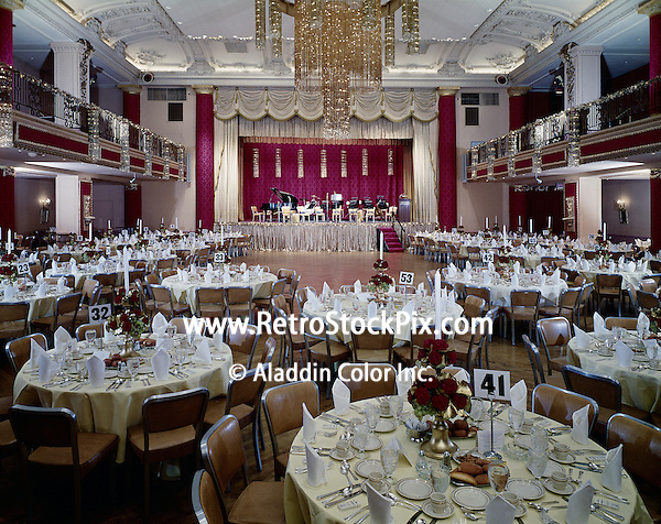 Large Ballroom set up for a party.