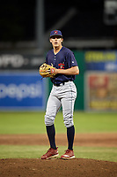 State College Spikes relief pitcher Kevin Hamann (33) gets ready to deliver a pitch during a game against the Batavia Muckdogs on July 7, 2018 at Dwyer Stadium in Batavia, New York.  State College defeated Batavia 7-4.  (Mike Janes/Four Seam Images)