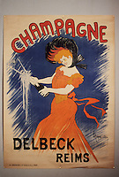 Europe/France/Champagne-Ardenne/51/Marne/Epernay : Musée municipal - Affiche champagne Delbeck debut XXème - Sabrer le champagne