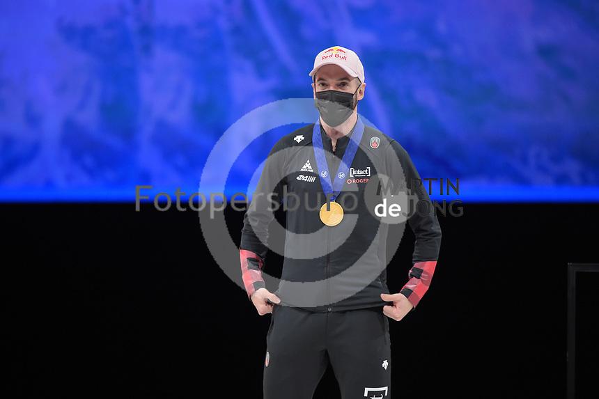 SPEEDSKATING: DORDRECHT: 06-03-2021, ISU World Short Track Speedskating Championships, Podium 1500m Men, Charles Hamelin (CAN), ©photo Martin de Jong