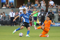 SAN JOSE, CALIFORNIA - JULY 24: Jack Skahan #16 of the San Jose Earthquakes during a game between Houston Dynamo and San Jose Earthquakes at PayPal Park on July 24, 2021 in San Jose, California.