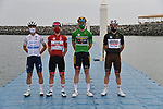 The leaders jerseys at sign on before the start of Stage 5 of the 2021 UAE Tour running 170km from Fujairah to Jebel Jais, Fujairah, UAE. 25th February 2021. <br /> Picture: LaPresse/Gian Mattia D'Alberto   Cyclefile<br /> <br /> All photos usage must carry mandatory copyright credit (© Cyclefile   LaPresse/Gian Mattia D'Alberto)