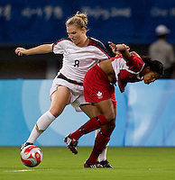 USWNT forward (8) Amy Rodriguez fights for the ball with Canadian defender (9) Candace Chapman while playing at Shanghai Stadium.  The US defeated Canada, 2-1, in extra time and advanced to the semifinals during the 2008 Beijing Olympics in Shanghai, China.